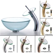 Clear Glass Vessel Sink and Waterfall Faucet