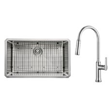 "30"" x 18"" Undermount Single Bowl Kitchen Sink with Faucet"