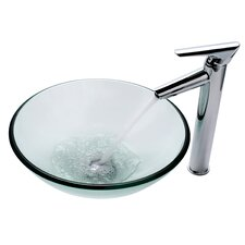 Clear Glass Vessel Sink and Decus Bathroom Faucet in Chrome