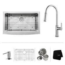 "33"" x 20.75"" Apron Front Single Bowl Kitchen Sink with Pull Down Faucet"