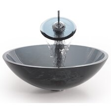 Glass Sink Combinations Clear Vessel and Waterfall Faucet
