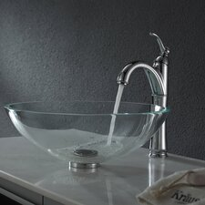 Crystal Clear Glass Vessel Sink with Pop Up Drain & Mounting Ring