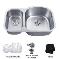 """32.38"""" L x 20.5"""" W Undermount Double Bowl 16 Gauge Kitchen Sink"""