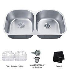 """38.63"""" x 20.5"""" Undermount Double Bowl 16 Gauge Kitchen Sink"""