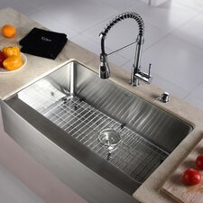 "Kitchen Combo 33"" x 20"" Single Bowl Farmhouse Stainless Steel Kitchen Sink with Faucet"