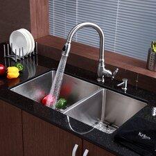 """33"""" x 19"""" 8 Piece Undermount Double Bowl Kitchen Sink Set"""