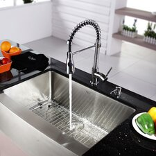 "Kraus 30"" Farmhouse Stainless Steel Kitchen Sink with Faucet and Soap Dispenser"