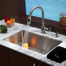 """30"""" x 18"""" 6 Piece Undermount Single Bowl Kitchen Sink Set"""