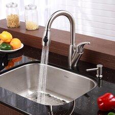 """23"""" x 17.6"""" 6 Piece Undermount Single Bowl Kitchen Sink Set"""