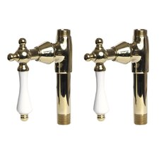 Traditional Straight Supply Stops with Porcelain Lever Handles