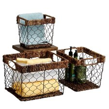 Carribbean Accents 3 Piece Shelf Basket Set