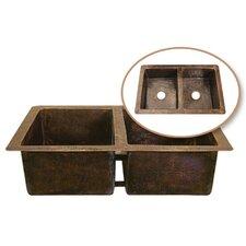 """Hammerwerks 34.25"""" x 21"""" ChaletChef Double Bowl Kitchen Sink"""