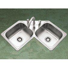 """Legend 31.88"""" x 17"""" Topmount Corner Bowl Kitchen Sink"""