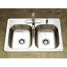 "Glowtone 33"" x 22"" Topmount Double Bowl 22 Gauge Kitchen Sink"