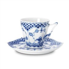 Blue Fluted Full Lace 5 oz. Cup and Saucer