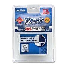 """TZE141 Lettering Tape, 3/4"""" Size, Black/Clear"""
