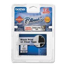 """TZE151 Lettering Tape, 1"""" Size, Black/Clear"""