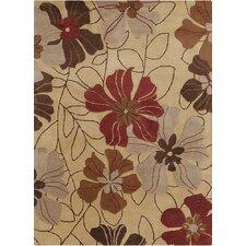 Bajrang Floral Beige/Red Area Rug