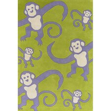 Kids Green Monkey Area Rug