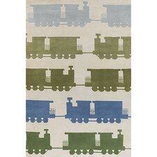 Kids Green & Beige Train Area Rug