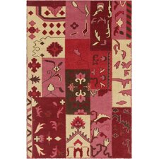 Fusion Patterned Contemporary Pink/Red Area Rug