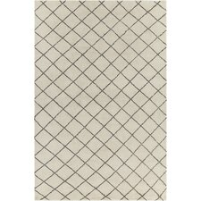 Gaia Patterned Contemporary Wool Cream/Brown Area Rug