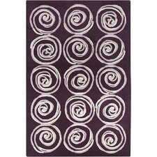 Allie Hand Tufted Wool Purple/Cream Area Rug