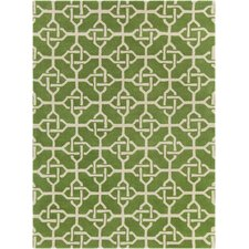 Davin Hand Tufted Rectangle Contemporary Green/Cream Area Rug