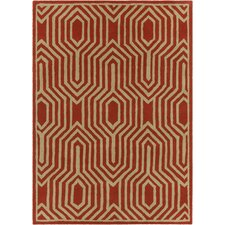Davin Hand Tufted Rectangle Contemporary Orange/Cream Area Rug