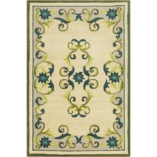 Allie Hand Tufted Wool Cream/Teal Blue Area Rug