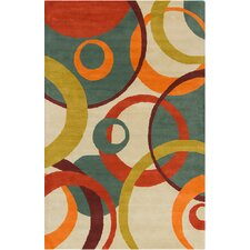 Allie Hand Tufted Wool Cream/Teal Green Area Rug