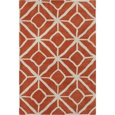 Allie Hand Tufted Wool Orange/Cream Area Rug