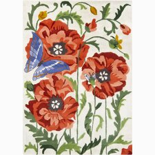 Bajrang White/Red Flower & Butterfly Area Rug