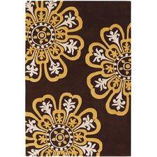 Counterfeit Contemporary Designer Dark Brown/Yellow Area Rug