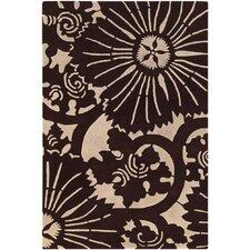 Seedling Patterned Rectangular Contemporary Designer Brown/Cream Area Rug