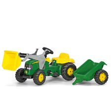 John Deere Pedal Tractor with Front Loader and Trailer