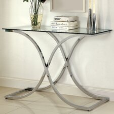 Glass console sofa tables wayfair for Sofa table glass replacement