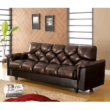 Carlington Leather Vinyl Storage Sleeper Sofa