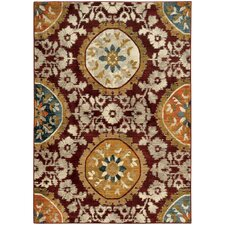Agave Floral Medallion Red/Gold Area Rug