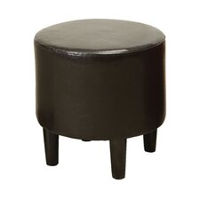 Cassey Leather Padded Round Ottoman