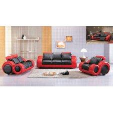 Hematite 3 Piece Leather Sofa Set