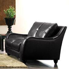 Napoli Leather Loveseat in Black