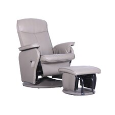 Bonded Leather Recliner and Ottoman Set
