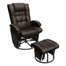 Bonded Leather Glider and Ottoman Set
