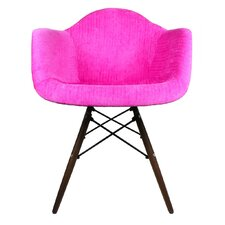Velvet Fabric Arm Chair with Wood Legs