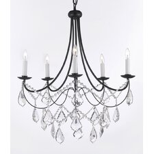 Wrought Iron & Crystal 5 Light Plug In Chandelier
