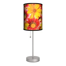 "Decor Art Big Flowers 20"" H Table Lamp with Drum Shade"