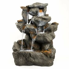 Rock Resin and Fiberglass Granite Fountain with LED Lights