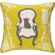 Victorian Dog Reversible Printed and Embroidered Throw Pillow