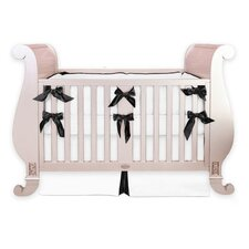 Black and White Silk 3 Piece Crib Bedding Set with Bows